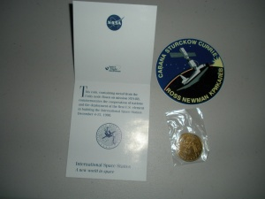 NASA I.S.S. STS-88 MEDALLION COIN BLENDED W/ METAL FROM UNITY NO