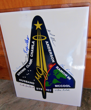 STS-107 Crew Signed by Hand Mission Insignia