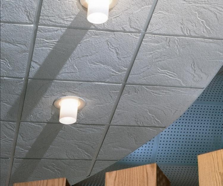 Stapled ceiling tiles
