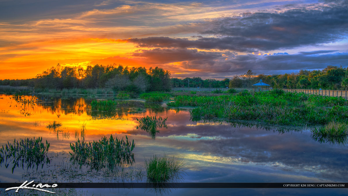 Green Cay Wetlands Sunset Along Boardwalk Boynton Beach on fishing nature
