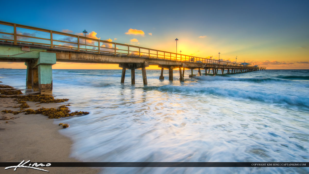 Anglins fishing pier at lauderdale by the sea during sunrise for Fishing piers in florida