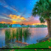 Sunset from Pelican Lake at Juno Beach, Florida along Kagan Park in Palm Beach County. HDR photo created using Photomatix and Topaz software.