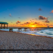 Along the beach during sunrise over Fort Lauderdale by the Sea in Broward County, Florida. HDR image created in Photomatix Pro and Topaz software.