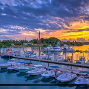 Breathtaking colors along the waterway at the marina during sunrise over the Jupiter Lighthouse. HDR photo created in Photomatix Pro and Topaz Software.