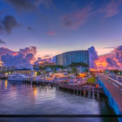 Sands Harbor Resort & Marina Pompano Beach waterway at sunrise taken from the Atlantic Blvd Bridge. HDR image created using Photomatix Pro and Topaz software.