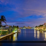 Panorama of the city skyline along the Boca Raton waterway before sunrise. Tone mapped image created using Photomatix Pro and Topaz software.