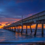 Spectacular sunrise from the Deerfield Beach Pier along the Atlantic coast in Broward County, Florida. HDR image created in Photomatix and Topaz software.