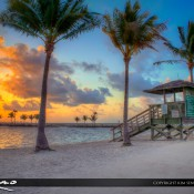 Lifeguard tower at sunrise from Matheson Hammock Park in Coral Gables, Florida. HDR image created and processed using Photomatix Pro and Topaz software.