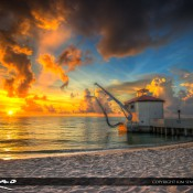 Amazing sunrise over the Boynton Beach Inlet the Palm Beach County, Florida at Ocean Inlet Park. HDR photo created using Photomatix Pro and Topaz software.