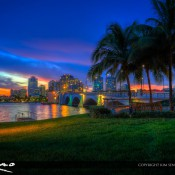 Beautiful night sky after sunset at West Palm Beach along the waterway at the Royal Park Bridge. HDR image created using Photomatix Pro and Topaz software.