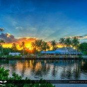 Explosive sunset today at Delray Beach Florida at the Downtown District along the waterway. HDR i mage created using Photomatix Pro and Topaz software.