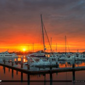 Sunrise from the St Augustine Municipal Marina in St Augustine, Florida along the Matanzas river. HDR image created using Photomatix Pro and Topaz software.