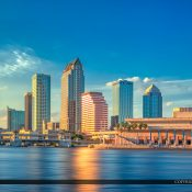 Cityscape from Tampa, Florida along the Hillsborough River with downtown city buildings. HDR photo created using Photomatix Pro HDR software by HDRsoft.