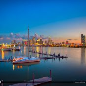 Gorgeous colors of the Miami City Skyline after sunset along the port waterway marina. HDR image created in Aurora HDR software by Macphun.