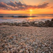 Beautiful seashells along the beach at COral Cove Park during sunrise on Jupiter Island with gorgeous sunrays. HDR image tone mapped using Aurora HDR software by Macphun.