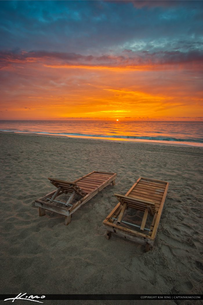 Pair of Beach Chairs South Florida Sunrise
