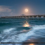 Gorgeous full moon rising over the Juno Beach Pier in Palm Beach County Florida. HDR image tone mapped using Aurora HDR Software.