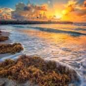 HDR image from Jupiter Inlet during sunrise of the jetty in Palm Beach County Florida. HDR photography image processed using Photomatix and Aurora HDr software.