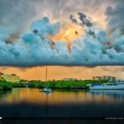 Beautiful dramactic clouds forming over Jupiter Florida under the Indiantown Road Bridge. HDR image processed using Aurora HDR 2017.