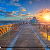 Awesome sunrise at the Juno Beach Fishing Pier in Palm Beach County Florida along the Atlantic Coast. HDR image created in Photomatix and processed with Aurora HDR.
