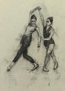 Ann Louise Wall and Sophie Morris (Ballet Cymru rehearsal 144)