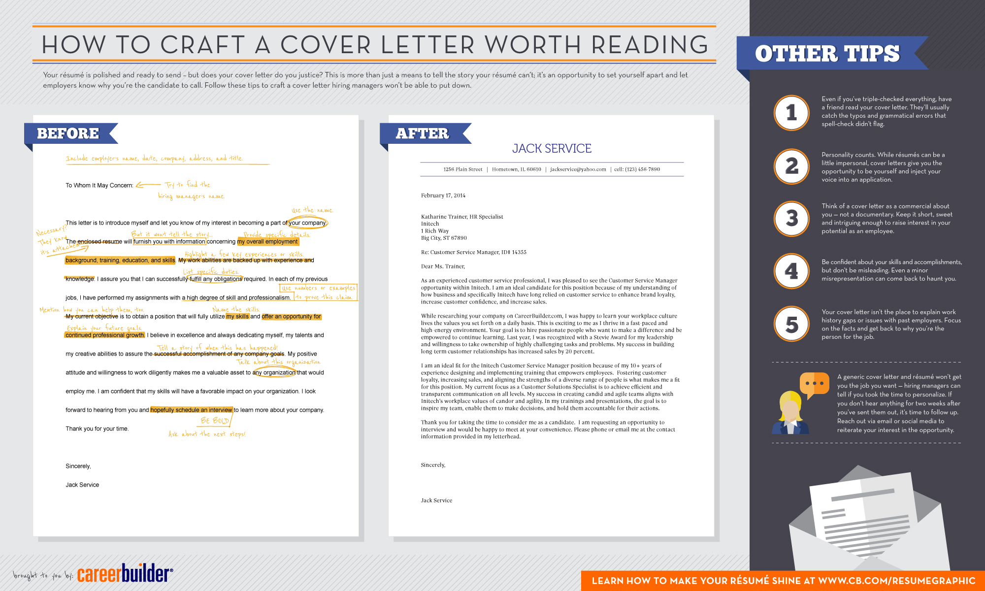 Infographic how to craft a cover letter worth reading careerbuilder here is our infographic on cover letters and how to make one that is eye catching to a hiring manager madrichimfo Choice Image