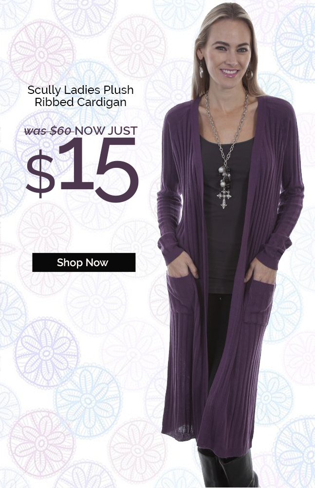 Scully Ladies Plush Ribbed Cardigan Was $60 - NOW Just $15