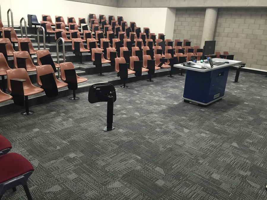 Interface Scale Up carpet tiles that have been installed into a university lecture theatre.