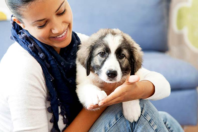 Woman Sitting with a Puppy