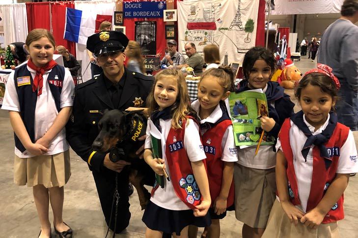 Girl Scouts with K9 and Officer