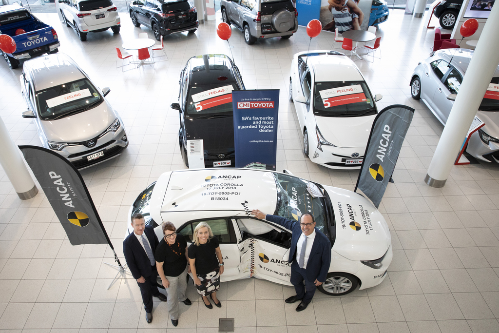 Smashed car becomes a key attraction in South Australian new car showroom.