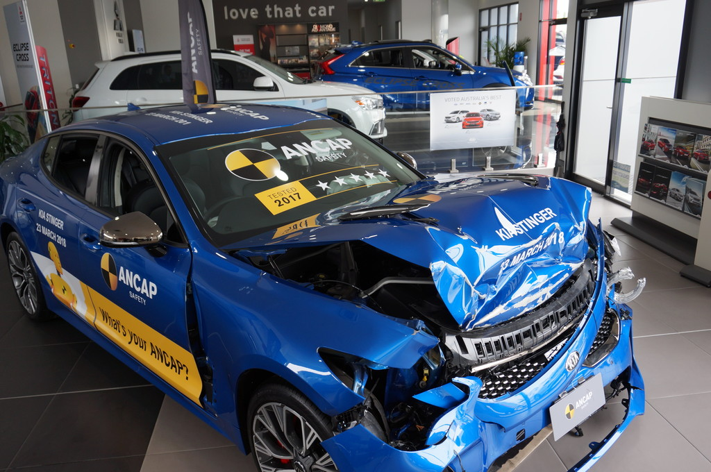 New car showrooms display vehicle wrecks – all in the name of safety.