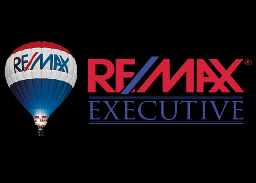Remax executive logo with balloon on side black background
