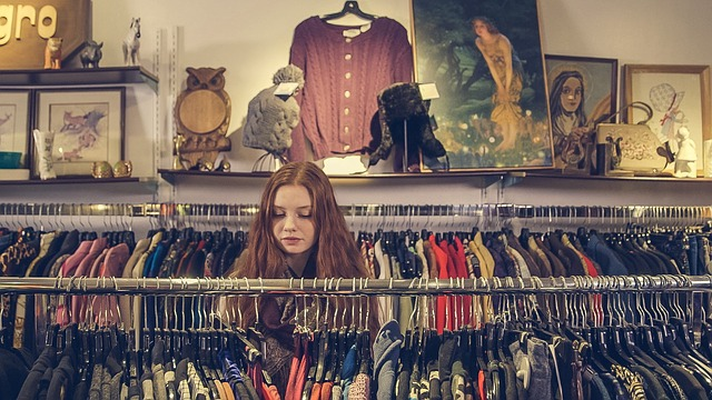 Girl browses store