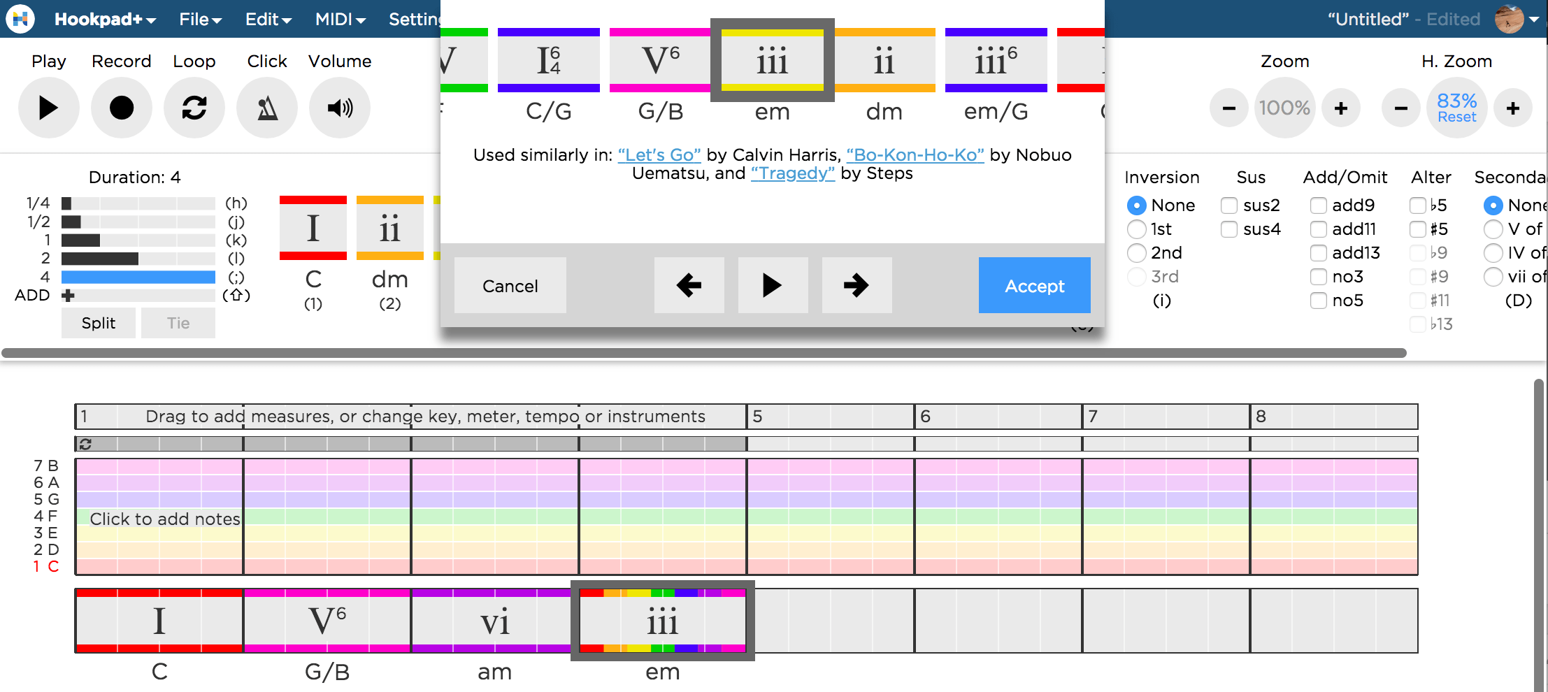 Hookpad's Magic Chord lets you ask Hookpad what it thinks is the best chord to use in a given situation.  Hookpad scans > 10000 songs and shows you what other other artists have done in the same scenario.