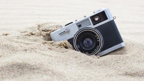 Tirando fotos na praia