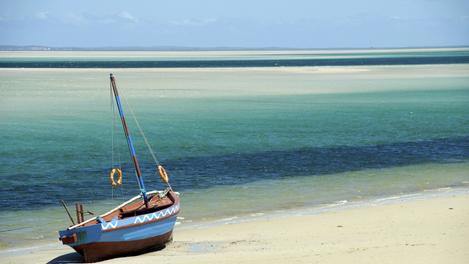 Típico dhow em praia moçambicana