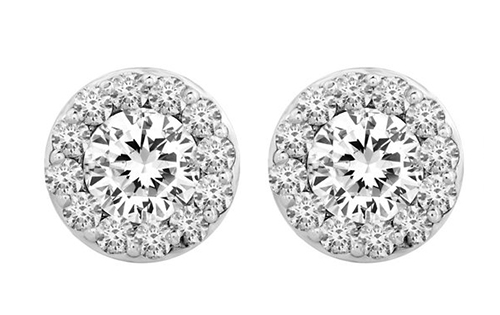 Lux 14k White Gold Round Basket Halo I2 G-H Diamond Stud Earrings