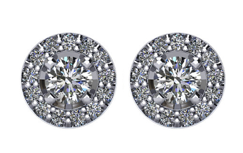 Lux 14k White Gold Round Halo I1 G-H Diamond Stud Earrings