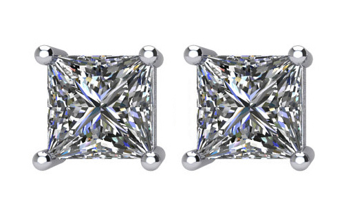 Lux 14k White Gold 4-Prong Square Princess I1 G-H Diamond Stud Earrings