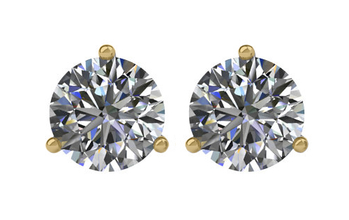 Lux 14k Yellow Gold 3-Prong Round I2 I-J Diamond Stud Earrings