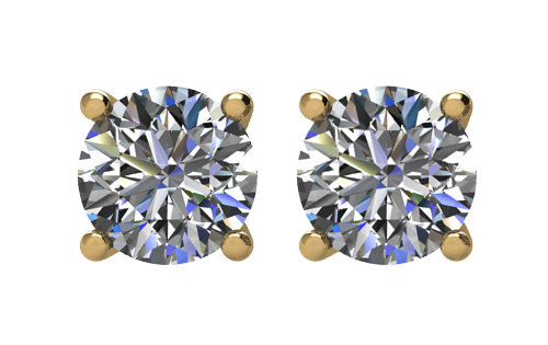 Lux 14k Yellow Gold 4-Prong Round I2 I-J Diamond Stud Earrings