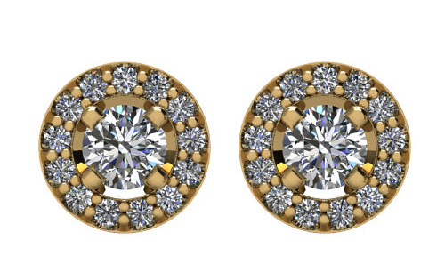 Lux 14k Yellow Gold Round Halo I1 G-H Diamond Stud Earrings