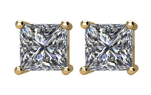 Lux 14k Yellow Gold 4-Prong Square Princess I1 G-H Diamond Stud Earrings