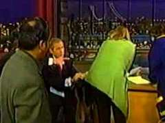 George W. Bush Wipes Glasses on Letterman