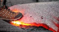 Man Steps On Lava