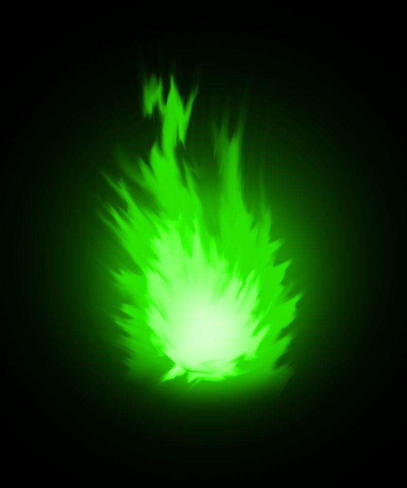 Una palla di fuoco verde