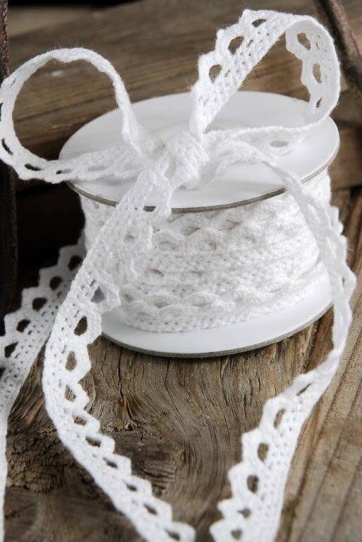 White Crochet Ribbon 1/2in x 10yds