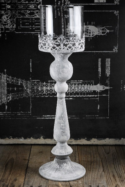 Metal Pedestal Candle Holder with Glass Shade