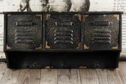 Aged Metal Three Drawer Wall Shelf with Hooks